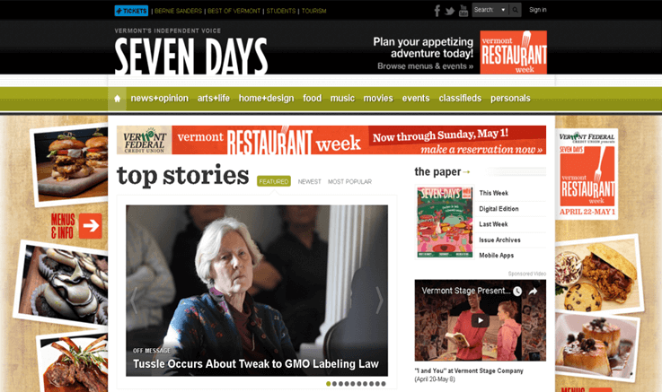 Vermont Seven Days – Digital Cover